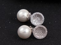 Summer Style 925 Stering Silver Luxe AAA Shining Zircon Round Pearl Perle Boucles d'oreilles pour Robe Party Jewelry FB