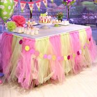 ingrosso decorazioni con sedia in tulle-Colorful Wedding Table Tulle Decorazioni 100cm * 80cm Custom Made Wedding Party Formale evento fornitori di nozze Nastri di copertura della sedia