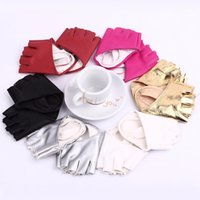 Wholesale wholesale evening gloves - Wholesale-Sexy Driving Show Pole Dance Half Finger Pu Leather Fingerless Gloves Evening Sex