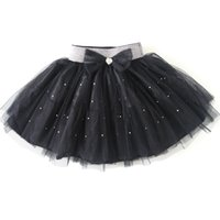 Wholesale Toddler Girls Fluffy Skirts - Wholesale-child\baby\kids black studded sequin bow mousseline fluffy mini tutu skirts\pettiskirt for toddler\girls birthday party costumes