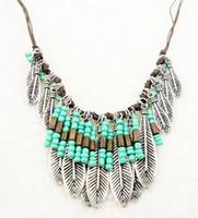 Wholesale Wholesale Jewelry Dozens - Dozen Bohemian Style Vintage Silver Resin Bead Long Tessal Leaf Fringe Statement Necklace Festival Jewelry 12Pcs lot