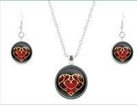 Wholesale Zelda Earrings - S925 silver Legend of Zelda glass jewelry set vintage heart glass necklace friendship pendant drop earrings bijoux CS43