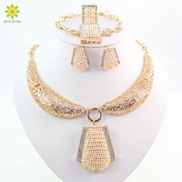 Wholesale African Pearl - High Quality African Costume Jewelry Set 18K Gold Plated Pearl Crystal Necklace Earrings Bracelet Ring Set For Women Wedding