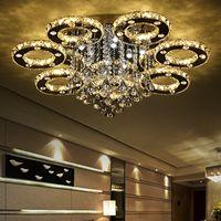 modern dekoratif ışıklar toptan satış-Morden lüks dekoratif sanat modern tarzı ev restoran K9 parlaklık kristal avize işık fikstürü aydınlatma tavan ışık lambaları