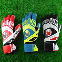 Wholesale Red Leather Gloves Men - New Professional goalkeeper gloves Finger protection latex soccer goalie protective gloves footbal sport goal keeper gloves