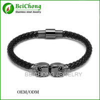 Wholesale Skull 316l - BC Jewelry Northskull Free Shipping 316l stainless steel bangle genuine leather North skull bracelet for men and women BC-190