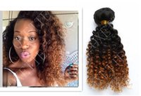 Wholesale Ombre Grade 5a Malaysian - Oxette ombré hair extensions #1b 30 kinky curly grade 5A Peruvian virgin hair 3 or 4 bundles ombre two tone human hair weave weft