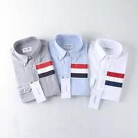 polka dot collar shirt toptan satış-Marka Giyim Çizgili Gömlek Erkekler Yeni Varış Moda Slim Fit Uzun Kollu Polka Dot Standı Yaka Casual Gömlek