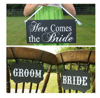 Wholesale Rustic Wedding Banner - Wholesale-Rustic wedding Here Comes The Bride sign MR and MRS banner wedding Flower Girl , bride and groom Plaque paper photobooth props,