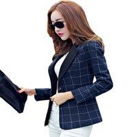 Wholesale Korean Long Blazers For Women - Women's Blazers And Suit jackets Autumn 2016 Korean Slim Long Sleeve Plaid Blazers Button Casual Office Suits For Women
