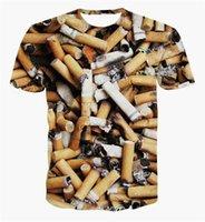 Wholesale Smoking V - FG1509 2015 Summer Style Fashion Men Women 3D Print Cigarette Butt T-shirts Unisex Short Sleeves smoking Tshirt Harajuku Tee Shirt