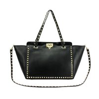 Wholesale Burgundy Bags - Wholesale-2015 European brand rivets bag Genuine leather handbag women's handbag shoulder bag cross-body female smiley bag 12 color