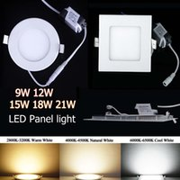 Wholesale Downlight Led Shape - Super-Thin Dimmable SMD2835 LED Panel Lights 9W 12W 15W 18W 21W Warm Nature Cool White Round Square Shape 110-240V Led Recessed Downlight CE