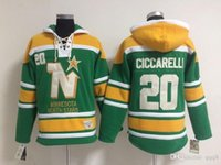 Wholesale Men Star Jacket - Top Quality ! Minnesota North Stars Old Time Hockey Jerseys 20 Dino Ciccarelli Green Dallas Stars Hoodie Pullover Sweatshirts Winter Jacket