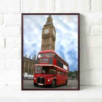 Wholesale Poster Printing London - 3 paintings of simple Nordic home decoration painting London bus fashion mural wall art posters
