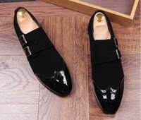 Wholesale Cut Out Homecoming Dresses - New Men luxury Designer Bullock belt buckle Casual Shoes Loafers Gold Black Wedding Homecoming Pageant Dress Shoes Moccasins
