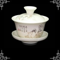 All'ingrosso-ceramica Gaiwan 100ml cinese Lu Yu Tea Sage Pittura Tea Cup Fine Bone China Kungfu Tea Set Dehua Tea Bicchieri