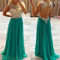 Wholesale Dance Sequins For Dresses - Fashion hunter Prom Dress for dancing a line beaded crystal key hole back floor length sparkling long evening dress robe de soiree HY
