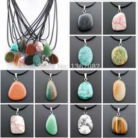 Wholesale Stylish Necklaces - New Fashion Jewelry Wholesale 12 PCS Stylish Irregular Natural Stone Charms Pendants Leather Rope Necklace Gift MN416