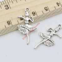 Wholesale Girl Dancer Jewelry - 25pcs Wholesale Antique Silver Plated Dancer Girls Charms Beads Pendants for Jewelry Making DIY Handmade 28x14mm A201 Jewelry making DIY