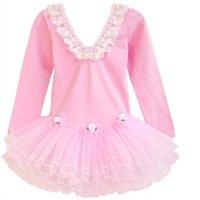 Wholesale Long Ballet Dresses - Children long sleeve dance dress girls lace falbala V-neck ballet dance dress kids performance clothing girl tulle tutu pageant dress R0918
