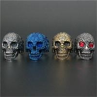 Wholesale Ruby Skull Ring - 1pc Newest Flower Ruby Eye Skull Ring 316L Stainless Steel Biker Style Lastest Men Fashion Popular Cool Skull Ring