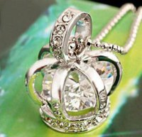 Wholesale Silver Crown Pendant Rhinestones - 2016 New silver color bird cage costume crown pendant necklace with crystal zircon EXL83