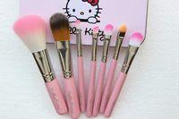 bügeln von nylon großhandel-7pcs / set hallo kitty pinsel make up kosmetik pinsel kit make-up pinsel rosa eisen case / toiletry schönheit geräte make-up pinsel