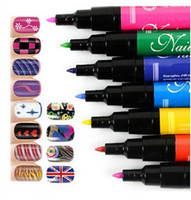 Wholesale Drawing Dotting Painting Pen - 2015 new!!! Nail Art Pen Painting Design Tool 12 Colors Optional Drawing Gel Made Easy DIY Nail Tool Kit nail art dotting tools.