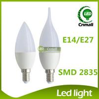 Wholesale E14 6w Smd Led - LED Candle Light LED Bulb Light Chandelier 6W 500lm Led Candle Bulb Chandelier bulbs E14 E27 Led Candle Bulb Led Lamps Energy-saving Lamp