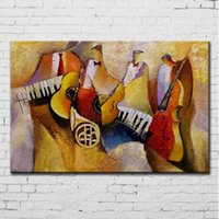 Wholesale Modern Music Paintings - Music Subject Hand Painted Textured Abstract Oil Painting on Canvas Modern Home Wall Art Decoration No Framed