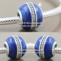 Wholesale Blue Star Foods - New 2017 Winter S925 Sterling Silver Midnight Blue Star Tracks Enamel CZ Charm bead For Pandora charm Bracelets Beads & Jewelry Making