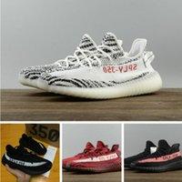 Wholesale Stripe Loafers - 2018 SPLY-350 Boost V2 2017 New Kanye West Boost 350 V2 SPLY Running Shoes Grey Orange Stripes Zebra Bred Black Red