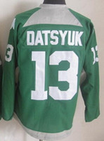 Wholesale Best Wholesale Dhgate - 2015 Red Wings St Patty's Day #13 Pavel Datsyuk Green Embroidered Jersey,Buy Best Hockey Jerseys at the dhgate online store