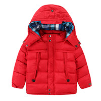 Wholesale Polyester Jacket Coat - 2015 Autumn Winter New Style Boy Cotton Jackets Solid 100% Polyester Thicken Coats For Children Paild Lining Zip Kids Hoodie Coats CR205