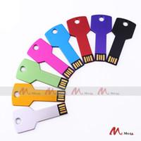 Wholesale Drive Gb Key - 10PCS 128MB 256MB 512MB 1 2 4 8 GB USB Drive Memory Flash Metal Key Pendrives Sticks Genuine True Storage Ramdon Colors