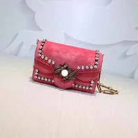 Wholesale leather handbag materials - 18m Pink Genuine Leather Velvet Women Bag Handbags The Newest Ladies Bags Top Quality Leather Material The Best Handware QN489218-1