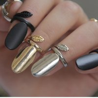 Wholesale Nail Ring Order - Wholesale- (Mini Mix Order >$10) 2015 New Hot Selling Punk Rock Leaf Gold Silver Black Plated Alloy Nail Rings Knuckle Ring For Women