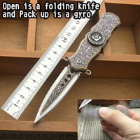Wholesale Colour Fish - 360 degrees spinning the top Colour titanium gyro folding knife edge knife edge outdoor family collection camping survival bag tool EDC Xma