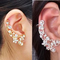 Wholesale Earring Clamps - Retro Butterfly Flower Crystal U Shape Ear Cuff Stud Earrings for Women Single Ear Wrap Clip On Clamp Jewelry
