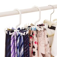 Wholesale Plastic Clothes Hangers Free Shipping - Rotating Ties Rack 20 Hook Neck Ties Organizer Men Rotating Adjustable Tie Hanger Holder Free Shipping 300pcs