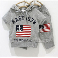Wholesale Grey Sailor Flag Boys Hooded Sweatshirts Pants Sets Toddler Outfits Cotton