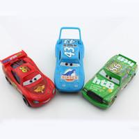 Wholesale Die Cast 64 - 3pcs Pixar Children mini cars mcqueen king psiton cup 2 toys bus alloy metal die cast race truck car models alloy diecast car toys children