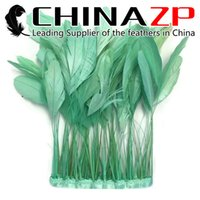 Wholesale aqua decorations - CHINAZP Crafts Factory 10yards lot 15~20cm(6~8inch) in Width Cheap Good Quality Dyed Aqua Green Stripped Rooster Coque Tail Feather Trims