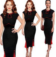 Wholesale Red Color Block Bodycon Dress - Plus Size Color Block Formal Working Dress Party Evening Womens Bodycon Clothing Size S to XXL