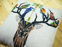 Wholesale Deer Stag - Creative Geometric Deer Stag And Bird Color Paintings Cushions Covers Sofa Throws Pillow Case Decorative Linen Cotton Cushion Pillow Cover