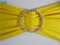 Wholesale Spandex Bands Rhinestone - 100PCS LOT Yellow spandex chair bands with DIAMONDS buckle of wedding decoration lycra chair bands with RHINESTONE
