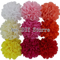 Wholesale Eyelet Flower Fabric - Free Shipping16pcs lot 3.75'' Chiffon Eyelet Fabric Rosette Puff Flowers With Alligator Clips For Baby Girls Hair Accessories