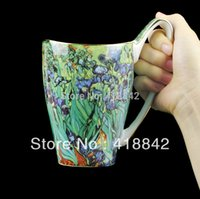 Pittura All'ingrosso-Bone China Mug 500ml Vincent Van Gogh olio Iris caffè Tazza da tè regalo di Natale