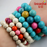 Wholesale Turquoise Beads Howlite 6mm - Wholesale 4MM 6MM 8MM Natural Synthesis White and Green Howlite Turquoise Stone Beads For Bracelet Necklace DIY Jewelry Making